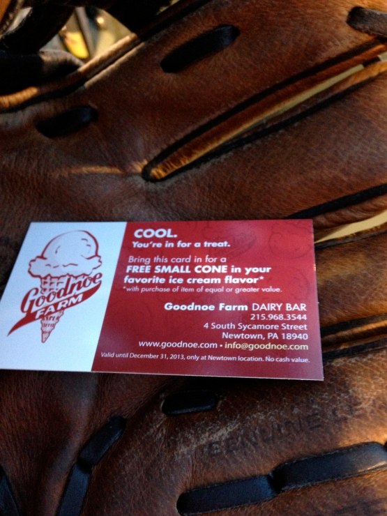 "The ice cream coupon I won after the ""RBIcecream Player of the Game"", JR Murphy drove in Trenton's first run"